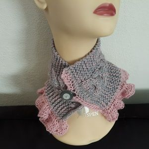 Hand knit unique victorian look pink ruffle scarf